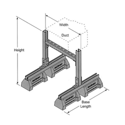 "HBS-DS 53"" Duct Support w/ Fixed Width and Adjustable Height"
